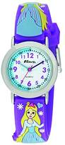 Ravel Cartoon Snow Princess 3D with Timeteacher Dial Children's Quartz Watch with White Dial Analogue Display and Multicolour Plastic Strap R151375