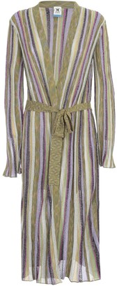 M Missoni Glitter Striped Long Knit Cardigan