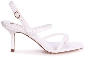 Linzi ROMY - White Nappa Square Toe Strappy Stiletto Heel