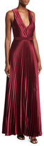 Zac Posen Arlyn Sleeveless V-Neck Satin Evening Gown