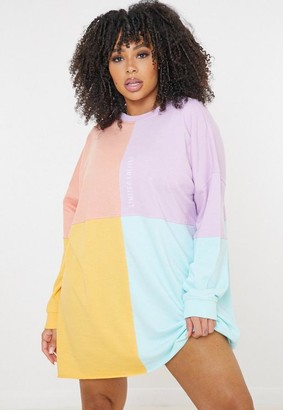 Missguided Plus Size Lilac New Edition Colourblock Sweater Dress