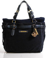 Juicy Couture Navy Blue Suede Ribbed Knit Trim Large Crossbody Handbag IN BOX