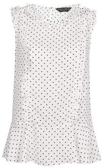 Dorothy Perkins Womens Ivory Spotted Printed Ruffle Sleeveless Top