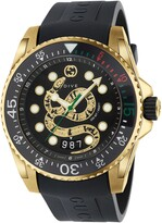 Gucci Dive Snake Rubber Strap Watch, 45mm