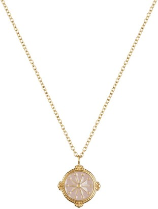 Florence London Life Compass Necklace Gold And Dusty Pink