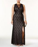R & M Richards Plus Size Illusion Glitter Lace Gown
