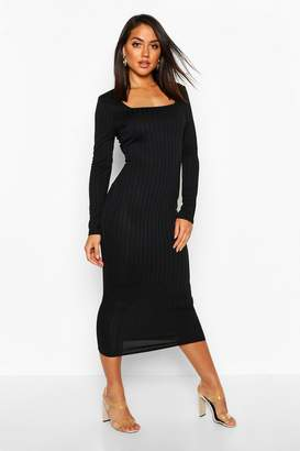 boohoo Ribbed Long Sleeve Square Neck Midaxi