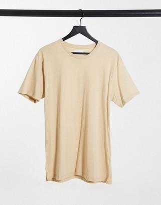 Topman longline t-shirt in stone