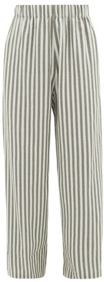 Marrakshi Life - Striped Cotton-blend Wide-leg Trousers - Green Multi