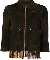 Diesel fringed crop sleeve jacket - women - Cotton/Sheep Skin/Shearling - XS