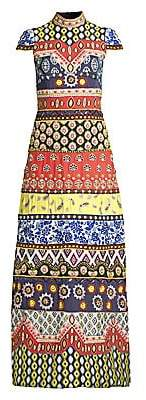 Alice + Olivia Women's Arwen Beaded Moasic Cap-Sleeve Long Dress - Size 0