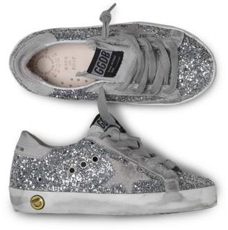Golden Goose Kid's Superstar Glitter Sneakers