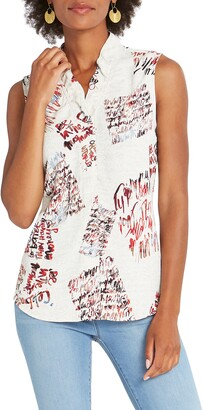 Nic+Zoe Scattered Letters Sleeveless Top