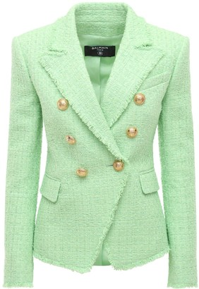 Balmain Buttoned Cotton Blend Fitted Jacket