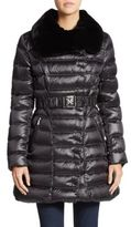 Dawn Levy Izzie Fur-Collar Belted Puffer Coat