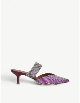 Malone Souliers Maisie leather and raffia kitten-heel mules