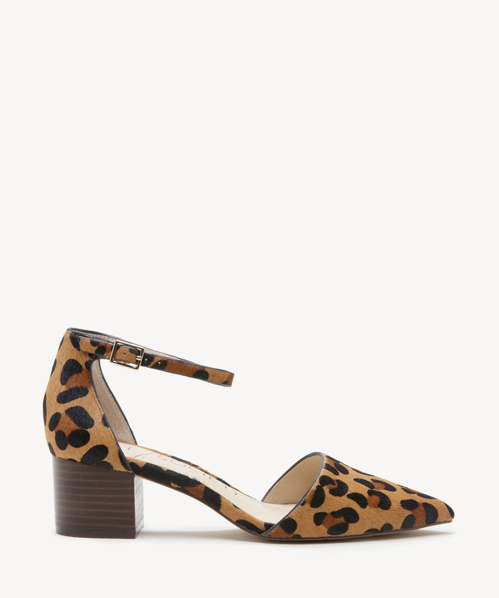 Sole Society Women's Katarina Two Piece Block Heels Pumps Leopard Size 5 Suede From