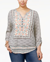 Style&Co. Style & Co Plus Size Mixed-Print Peasant Top, Only at Macy's