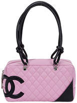 One Kings Lane Vintage Chanel PInk & Black Cambon Shoulder Bag