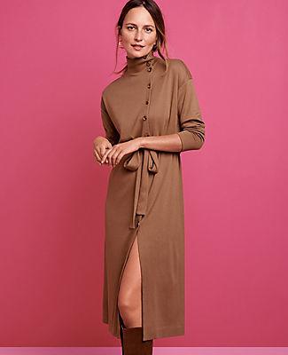 Ann Taylor Petite Side Buttoned Mock Neck Dress