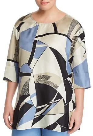 Marina Rinaldi Farsetto Abstract Print Silk Top