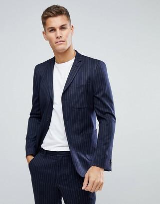 Asos Skinny Suit Jacket in Navy Wool Blend Pinstripe