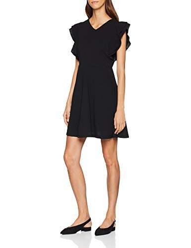 Yumi Women's DRES Shift Ruffles Plain Sleeveless Dress,(Manufacturer Size: )