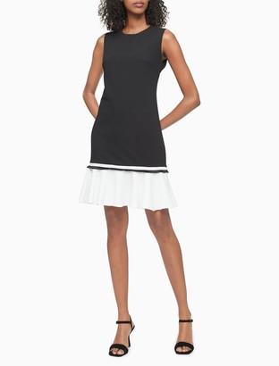 Calvin Klein Colorblock Sleeveless Ruffle Dress