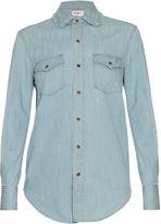 Saint Laurent Frill-collar denim shirt