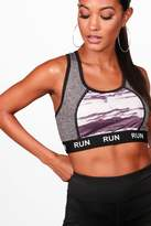 boohoo Amber Fit 'Run' Slogan Sports Bra