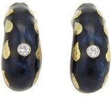 David Webb 18K Yellow Gold 0.20 Ct Diamonds & Enamel Curved Clip-On Earrings