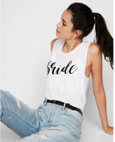 Express bride script crew neck muscle tank