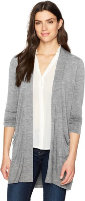 Foxcroft Women's Jillian Long Sleeve Solid Knit Open Cardigan