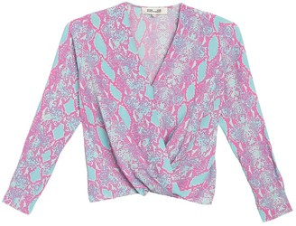 Diane von Furstenberg Marci Snake Print Crossover Silk Blouse