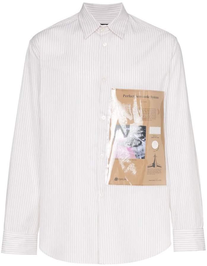 Raf Simons striped plastic pocket shirt