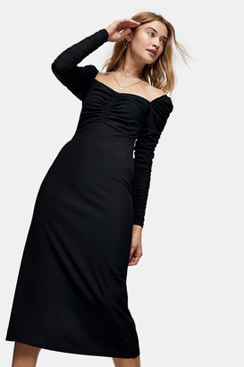 Topshop Womens Black Ribbed Ruched Jersey Midi Dress - Black