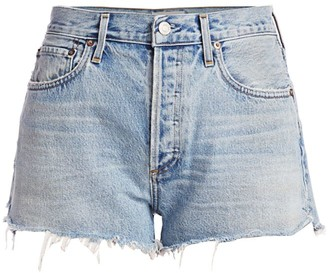 AGOLDE Parker High-Rise Fray Hem Denim Shorts