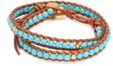 Chan Luu Turquoise 18K Gold-Plated Sterling Silver Leather Bracelet