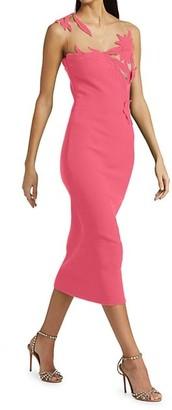 Oscar de la Renta Embroidered Illusion Lace Sheath Dress