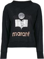 Etoile Isabel Marant metallic logo print sweatshirt - women - Linen/Flax - S