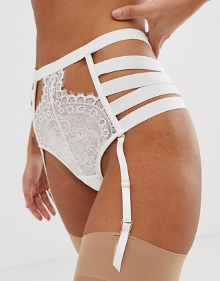 Hunkemoller Peaches strapping high waist suspender brief in off white