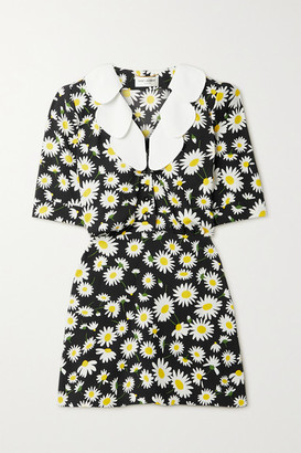 Saint Laurent Ruffled Floral-print Crepe Mini Dress - Black