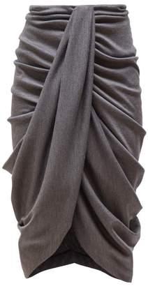 Isabel Marant Datisace Draped Wool Jersey Midi Skirt - Womens - Grey