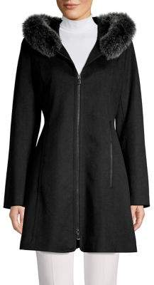 Forecaster Of Boston Platinum Fox Fur-Trim Wool-Blend Coat