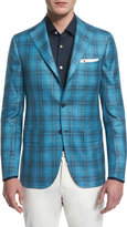 Kiton Plaid Two-Button Cashmere Jacket, Aqua