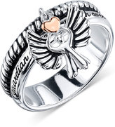 Unwritten Sterling Silver Two-Tone Angel Charm Ring
