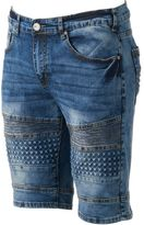 X-Ray Men's XRAY Slim-Fit Moto Embossed Stretch Denim Shorts