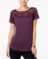 Maison Jules Printed Lace-Yoke T-Shirt, Only at Macy's