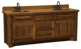 "Union Rustic Derecho 60"" Bathroom Vanity Base Only Orientation: Double Sink, Top: With Laminate Top, Leg Style: Hickory Legs"