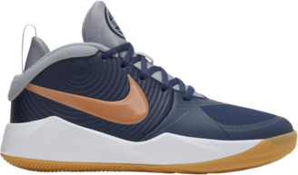 Nike Hustle D 9 Basketball Shoes - Midnight Navy Blue / Met Copper Wolf Grey